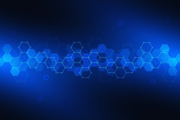 Science background with hexagons pattern