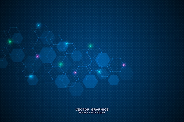 Science background with hexagons