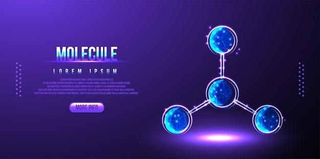 Sfondo scientifico con molecola o atomo, sfondo medico wireframe basso in poli