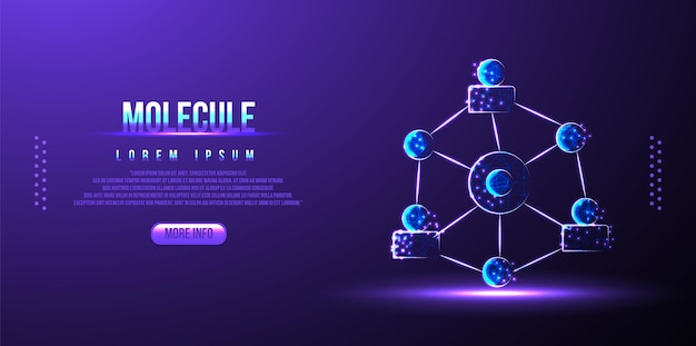 Science background with molecule or atom, medical background low poly wireframe
