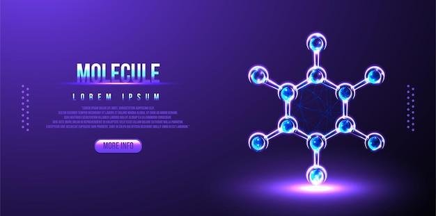 분자 또는 원자, 의료 배경 낮은 폴리 와이어 프레임 과학 배경