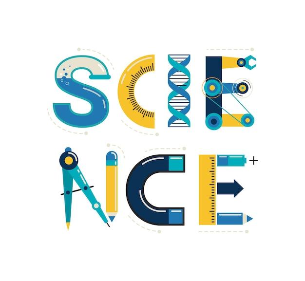 과학 배너 인쇄술 및 배경