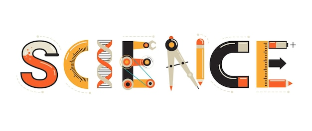 Science banner typography and background