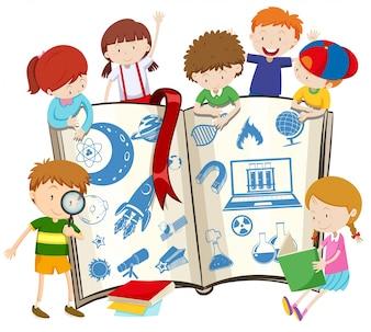 Иллюстрация научной книги и детей