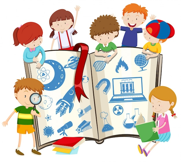 Science book and children illustration