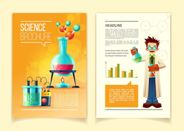Science brochure template, front and back side, educational leaflet