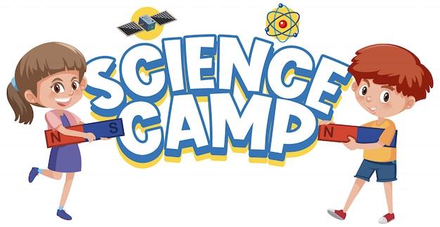 Логотип научного лагеря и дети, держащие магнит