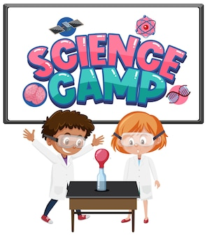 Science camp logo and set of children with education objects isolated