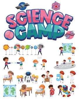 Science camp logo and set of children