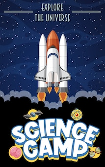 Science camp logo with explore the universe text and space objects