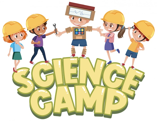Science camp logo with kids wearing engineer hat isolated