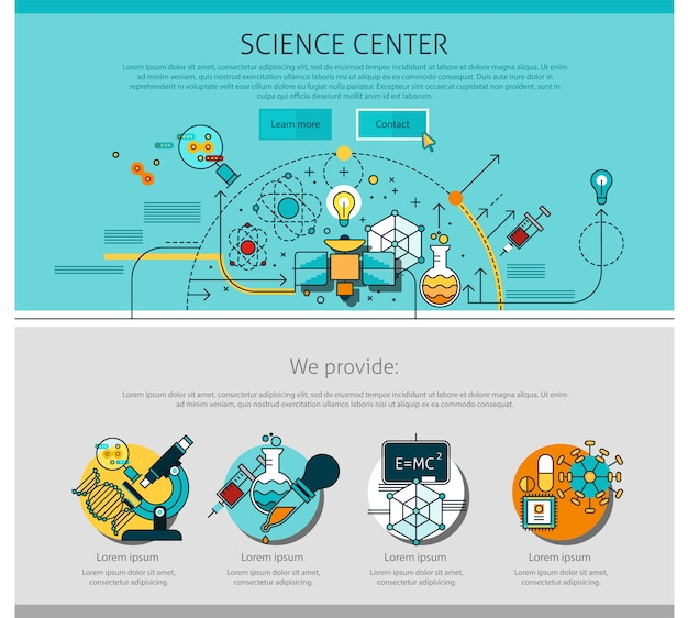 Science center line page illustration