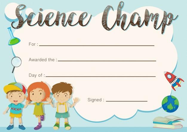Modello di riconoscimento campione di scienza con i bambini in background