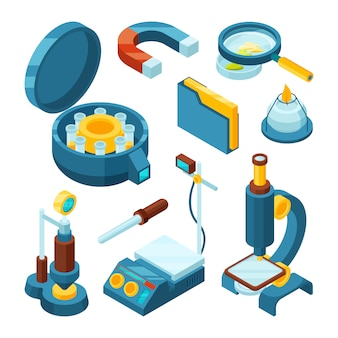 Science chemical isometric. pharmaceutical engineering biology modern industry microscope oscilloscope  3d tools