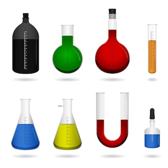 과학 화학 실험실 장비. 액체 화학 물질과 과학 실험실 장비 세트.