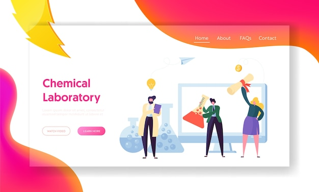 Science chemical laboratory character landing page. man with flask experiment, study substance. woman patent new medicine formula, receive money for website page flat cartoon vector illustration