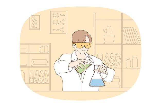 科学、化学、実験の概念