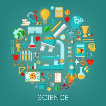 Science chemistry and physics icons set education concept.