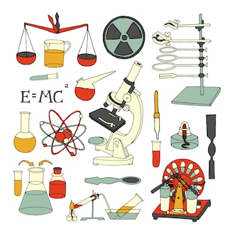 Science chemistry and physics scientific decorative colored sketch icons set isolated vector illustration
