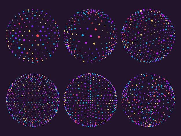 ドットオーブや粒子軌道の科学カラフルな原子球。