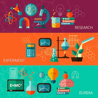 Science concept flat horizontal banners set