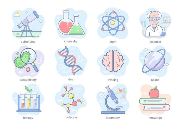 과학 개념 평면 아이콘 천문학 화학 원자 과학자 세균학 생각의 번들을 설정합니다...