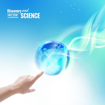 Science concept image of human hand touching earth globe.