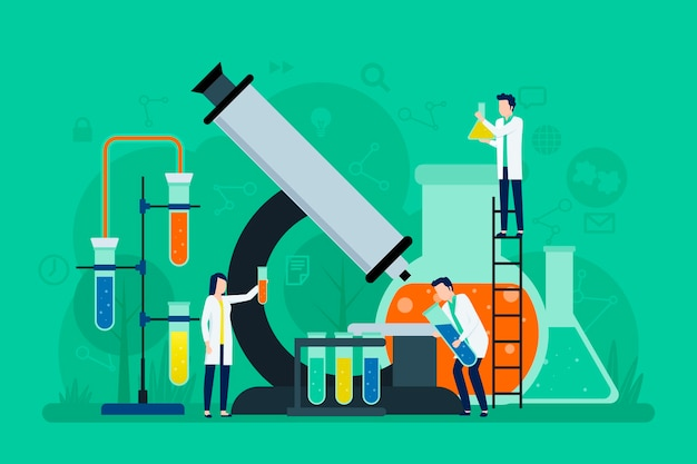 Science concept with big microscope