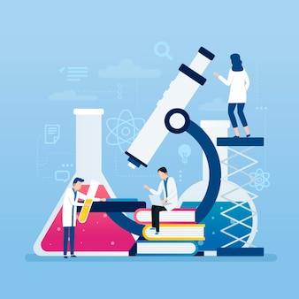 Концепция науки с микроскопом и людей, работающих