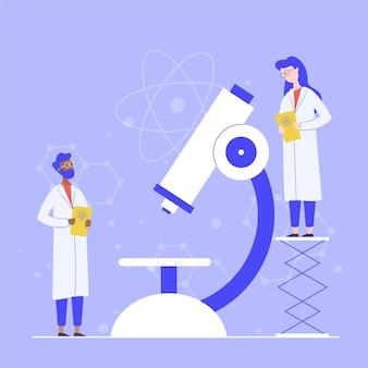 Concetto di scienza con il microscopio illustrato