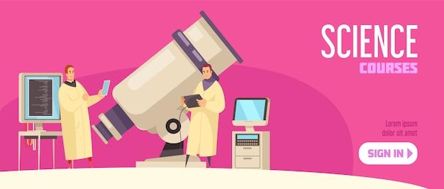 Горизонтальный баннер курсов естествознания как электронное учебное предложение с изображениями современного оборудования и иллюстрацией кнопки регистрации
