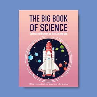 Science cover book design with rocket, molecule watercolor illustration.