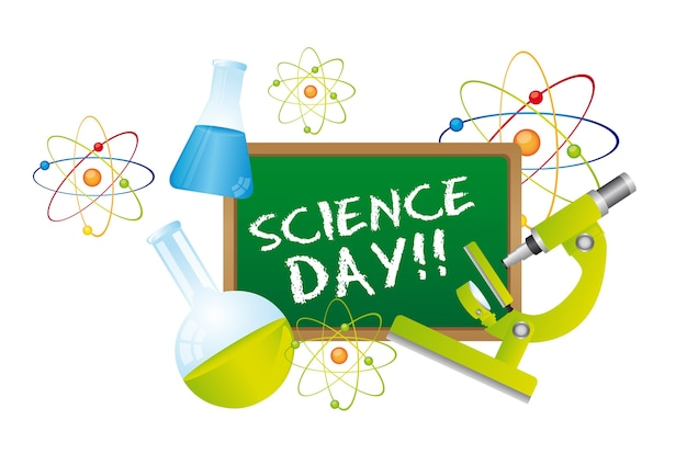 Science day text over chalkboard
