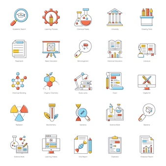 Science education flat icons pack