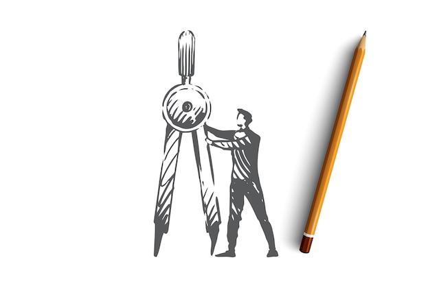 과학, 교육, 그래픽, 기술, 수학 개념. 손으로 그린 된 과학자 및 분배기 개념 스케치.