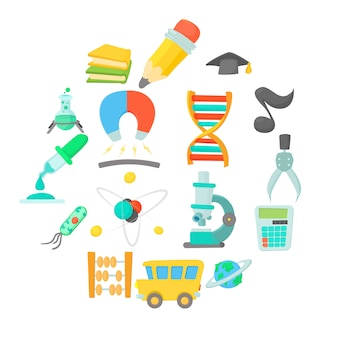 Science education icon set, cartoon style