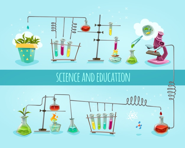 Science and education laboratory flat background