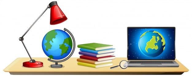 Oggetti di educazione scientifica su stile cartone animato scrivania