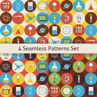 Science and education patterns set with colorful circles. flat style vector 4 seamless texture backgrounds. collection of chemistry biology physics astronomy and research templates. back to school.