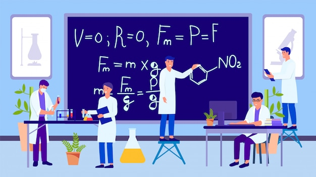 Science educational laboratory and working people researchers group illustration.