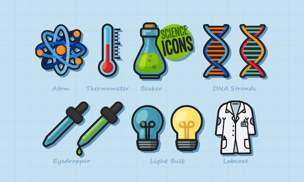Science elements vector set
