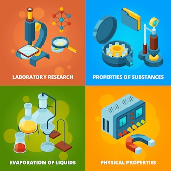 Science equipment. chemistry testing research laboratory school class lab  isometric concept pictures