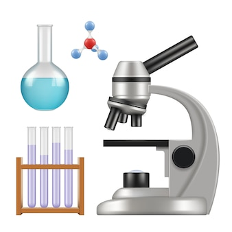 Science equipment. microscope scientific chemical laboratory items glass cylinder and tubes beakers pipette realistic