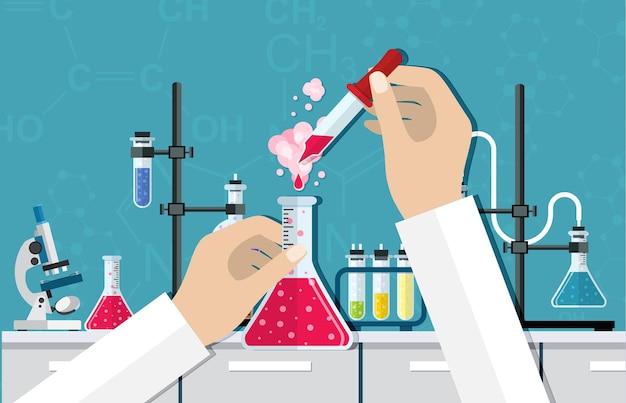 実験室での理科実験