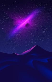 Science fiction illustration of desert art at night time