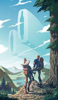 カップルの空想科学小説のイラストが崖の頂上にトレッキングしています