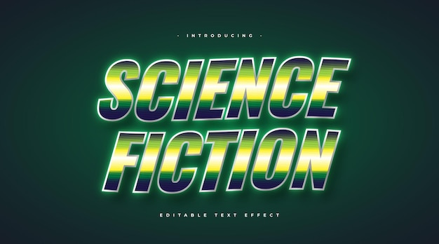 Science fiction text in retro style with glowing and glossy effect. editable text style effect