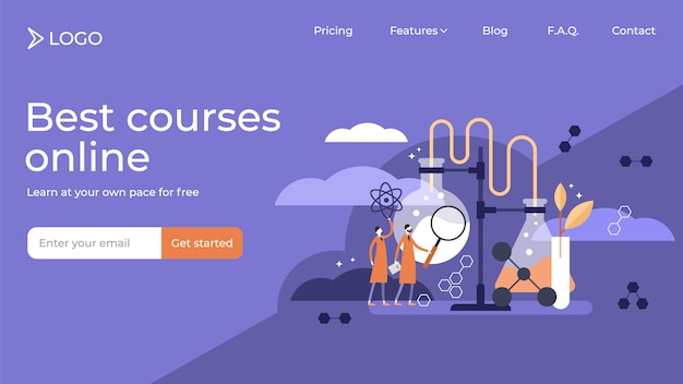Science flat tiny persons vector illustration landing page template design. Premium Vector