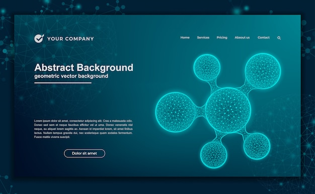 Science, futuristic background for website design or landing page
