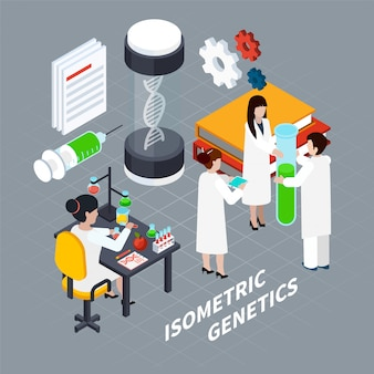 Science and genetics isometric concept